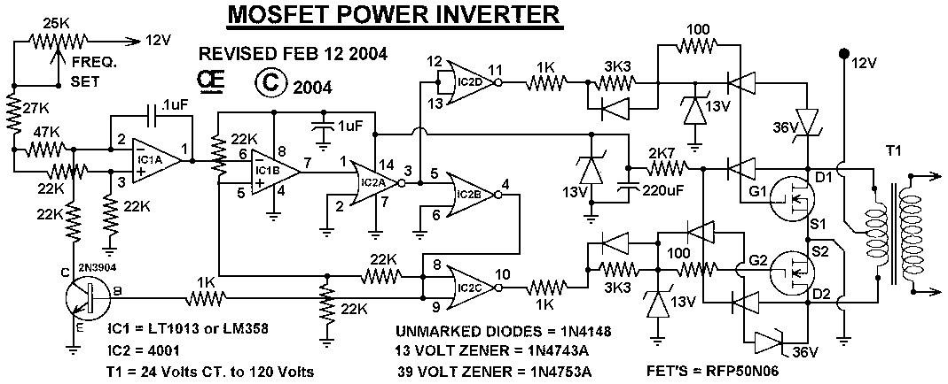 Simple Inverter Circuit Diagram 12v 500w