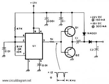 Voltage Doubler Circuit: 12VDC to 18VDC or 24VDC