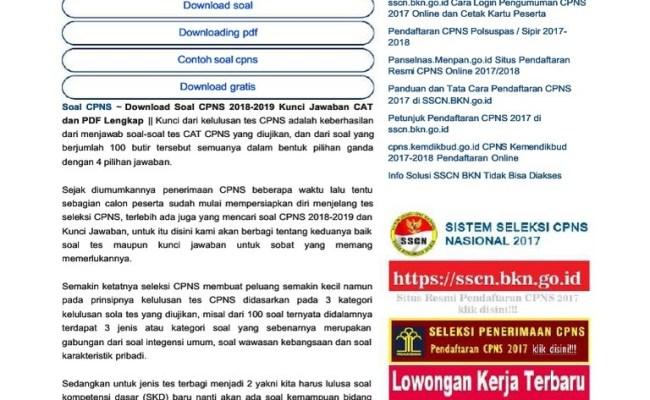 Soal Tes Cpns 2018pdf Jawabanku Id