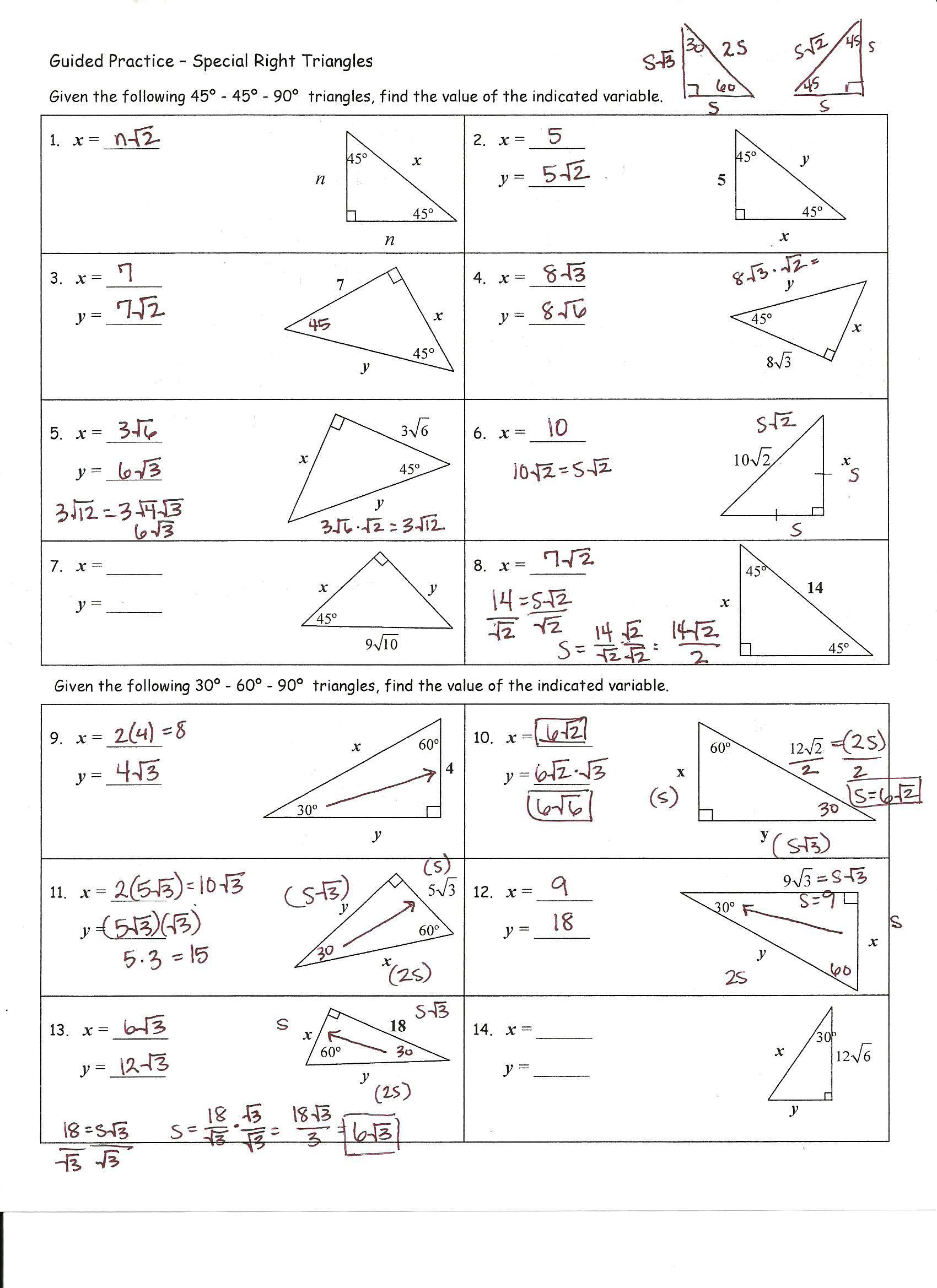 30 60 90 Triangle Worksheet Answer Key : triangle, worksheet, answer, Triangles, Worksheet, Spreadsheet