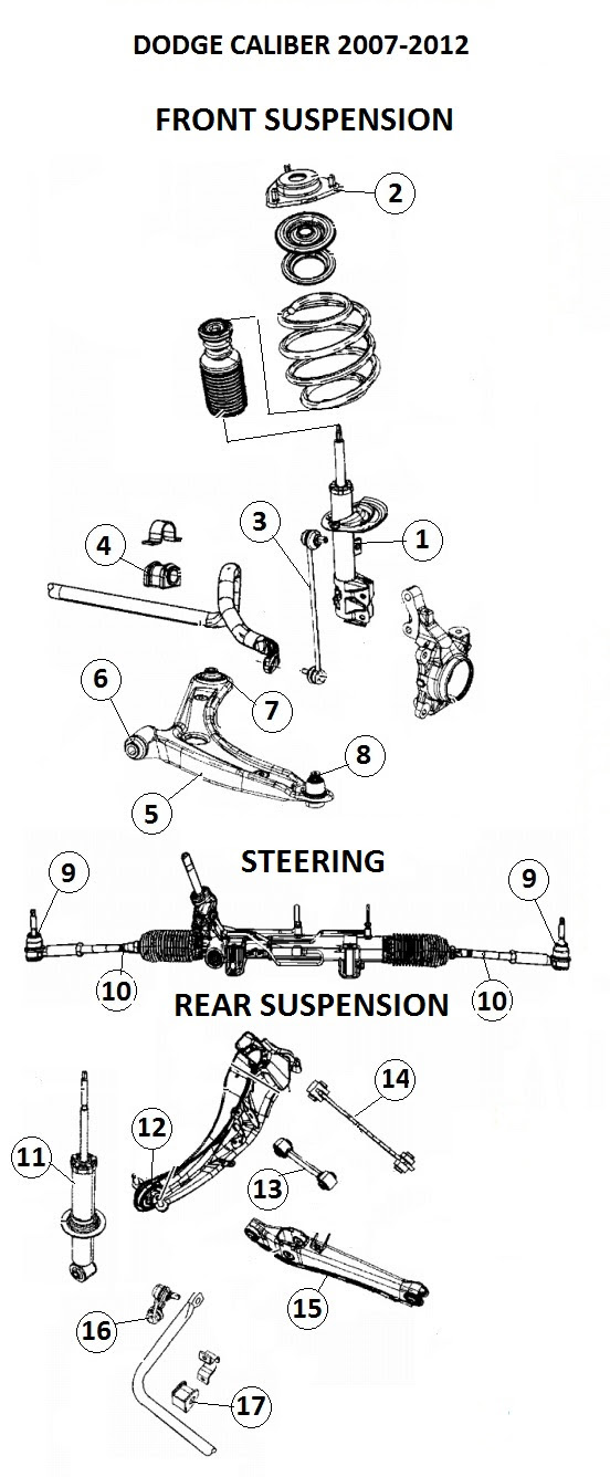 Front End 2007 Dodge Caliber Front Suspension Diagram