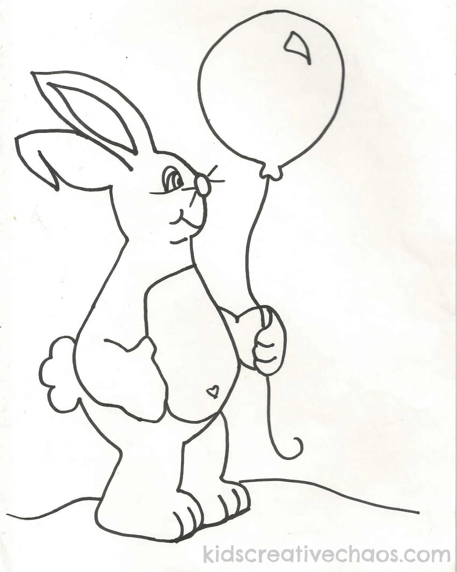 Easter Free Printable Coloring Sheets: Baby Bunny with