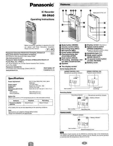 Read Online Panasonic Rr qr160 Pdf Manual Book Library
