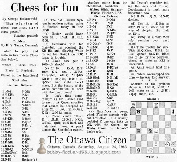 Bobby Fischer 1963: Another game from the Inter-Zonal