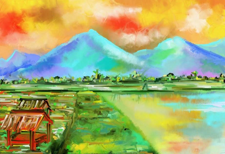 Lukisan Alam Dari Crayon  Koleksi Gambar HD