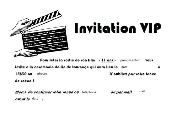 invitation anniversaire garcon 11 ans