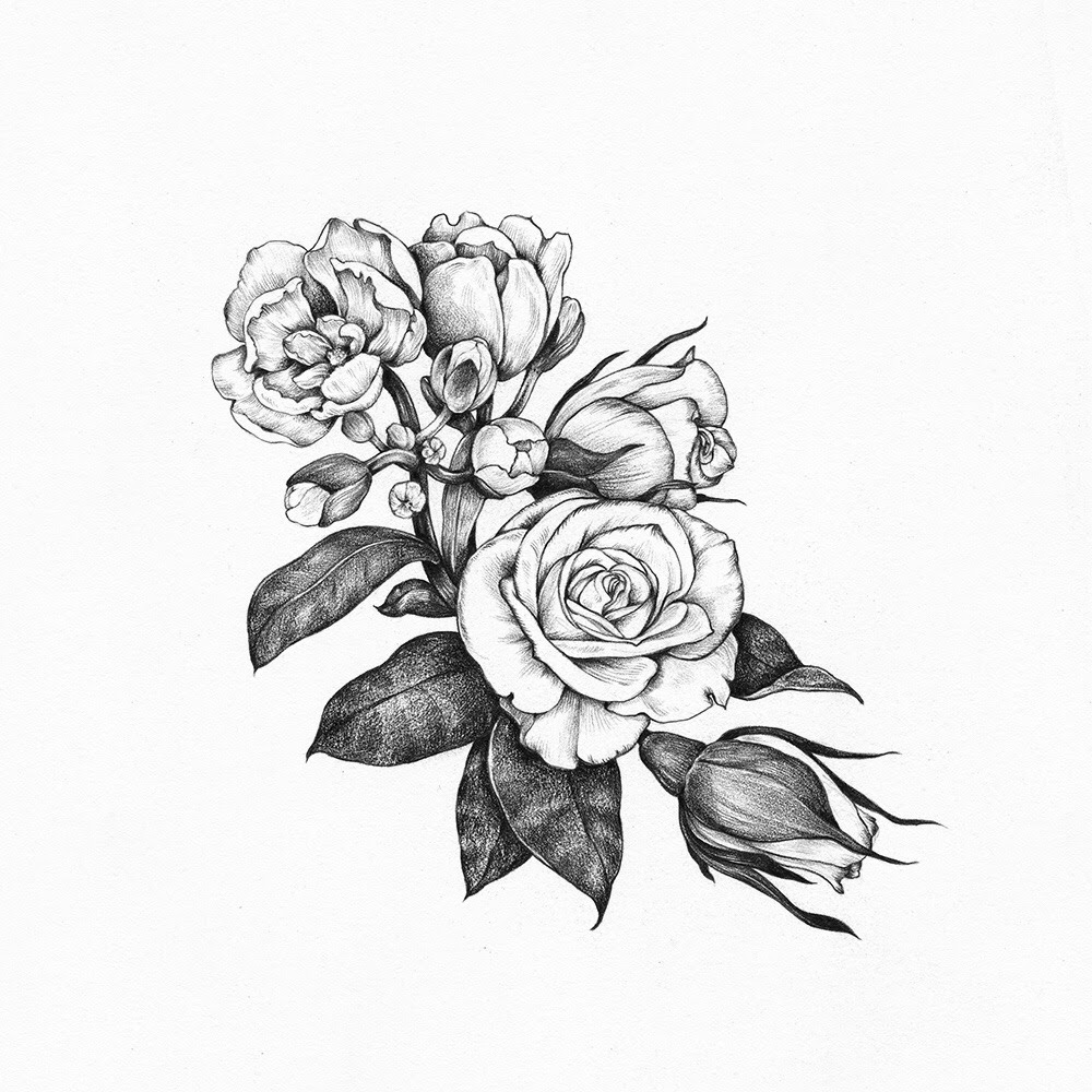 dongetrabi: Black And White Flowers Drawings Tumblr Images