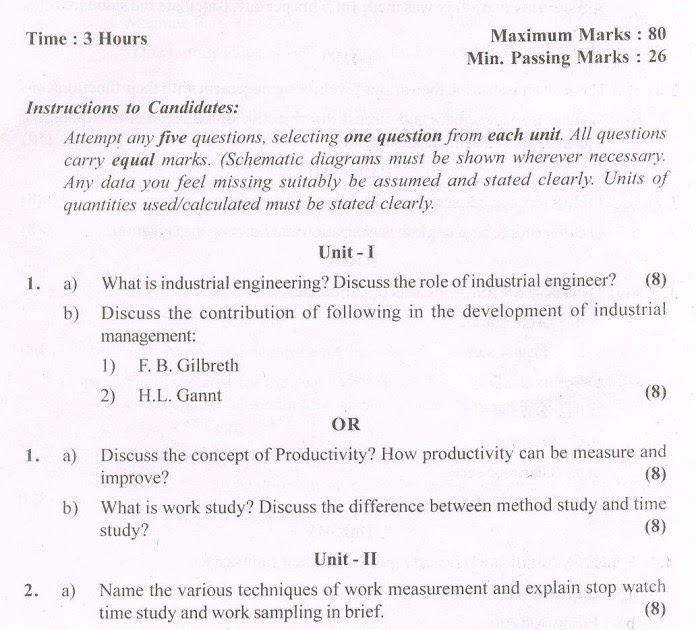 34 INDUSTRIAL ENGINEERING QUESTION PAPER