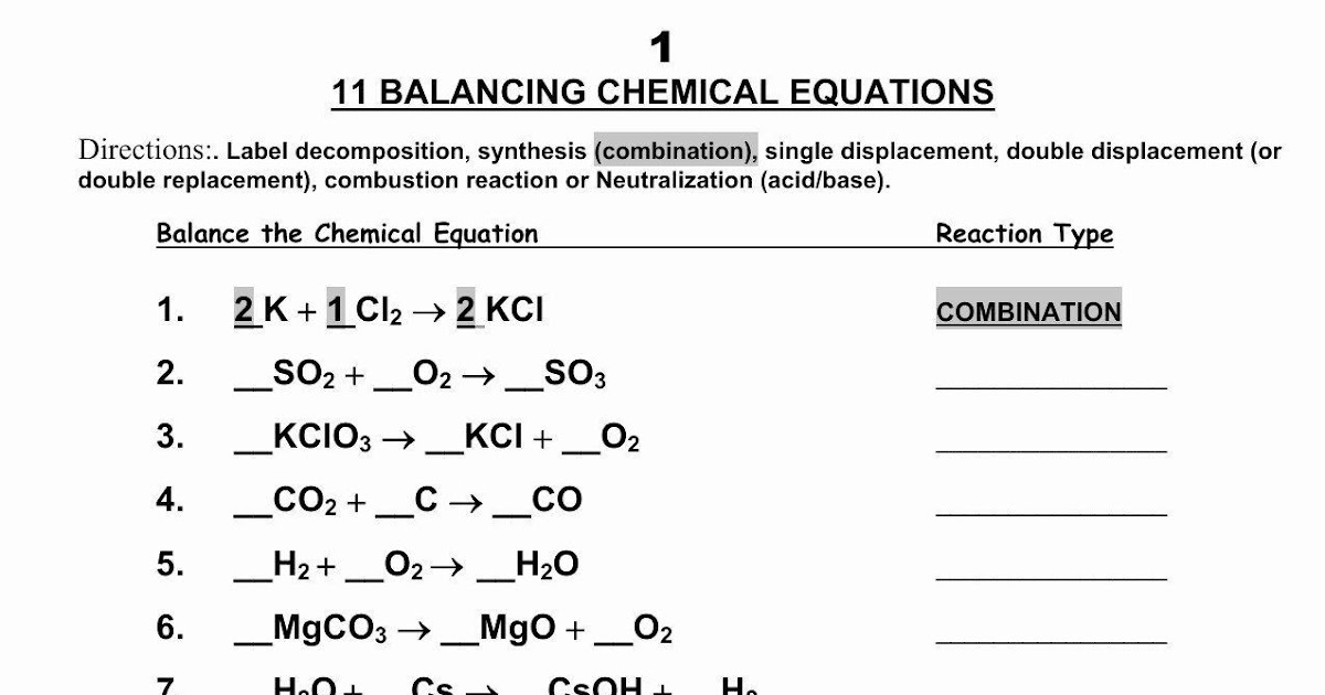 Pogil Types Of Chemical Reactions Worksheet Answers / 30
