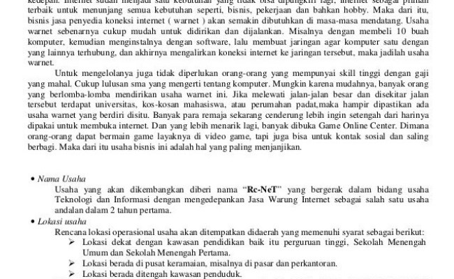 Contoh Bisnis Plan Dalam Kewirausahaan Jawat Kosong Cute766