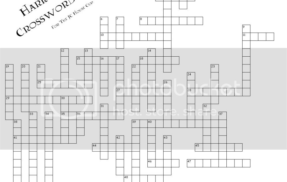 Rose Colored Glass Half Full: Harry Potter Crossword Puzzle