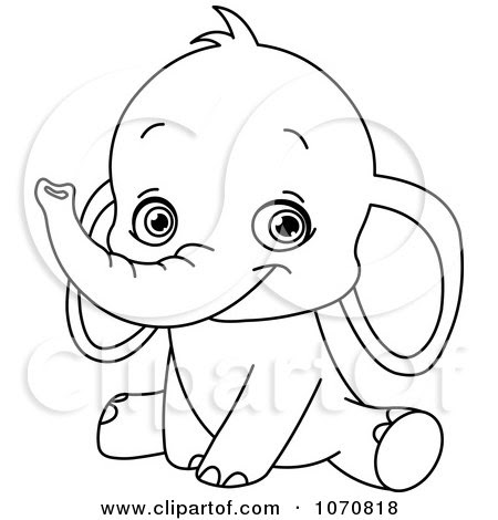 Coloring Sheets for Kids: Baby Elephantroyalty Free Vector