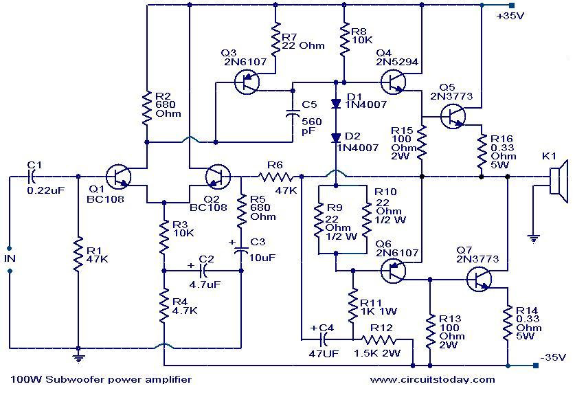 subwoofer amplifier circuit diagrams download