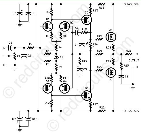 Diagram Of 100w Power Amplifier Schematic Diagram Wiring