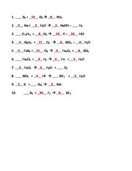 Chemistry Balancing Equations Worksheet Answer Key Pdf