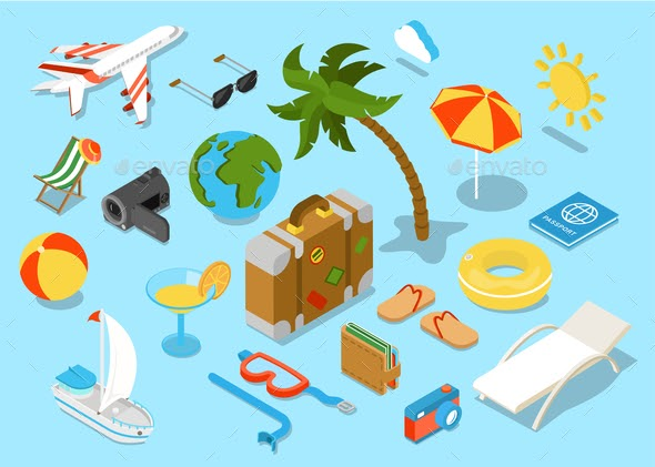 Flat 3d Isomectric Travel Objects Icon Set Web Download