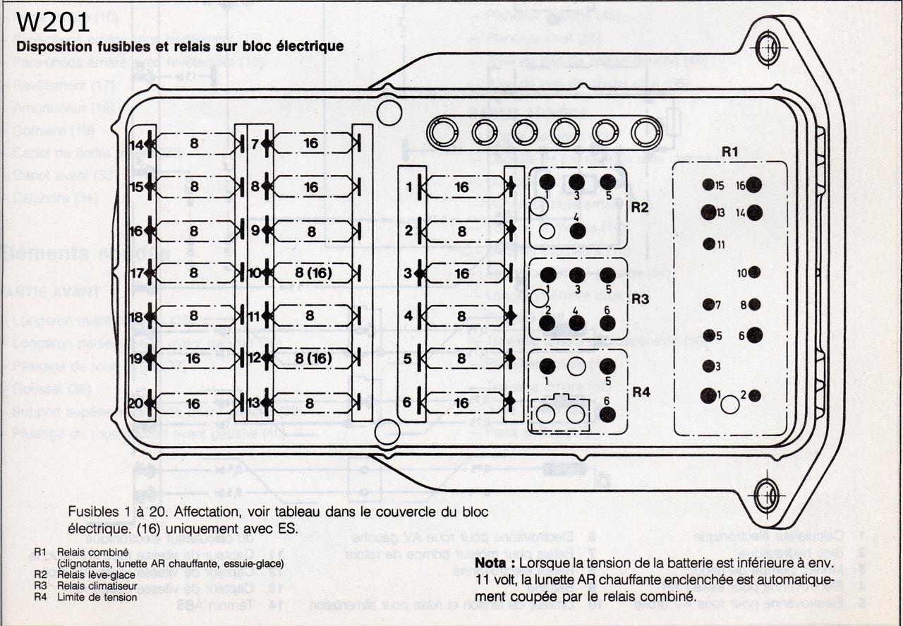 87 SCHEMA ELECTRIQUE MERCEDES 190D 2.5