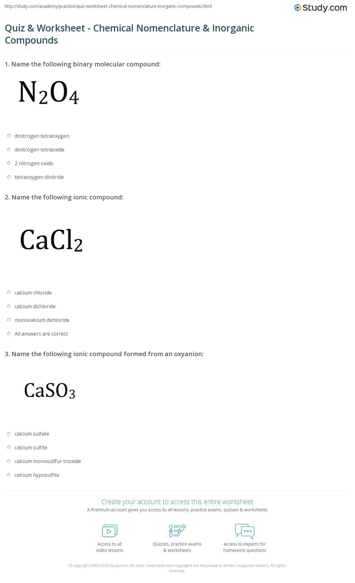 47 CHEMISTRY NOMENCLATURE PRACTICE QUIZ, PRACTICE QUIZ