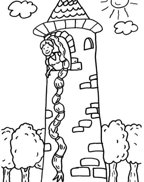 Kostenlose Malvorlage Märchen Rapunzel zum Ausmalen zum
