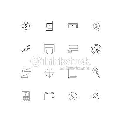 Banking Finance Money Simple Linear Icons Set Outlined