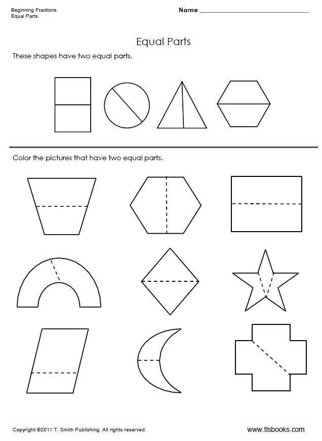 NEW 549 FIRST GRADE MATH WORKSHEETS EQUAL PARTS