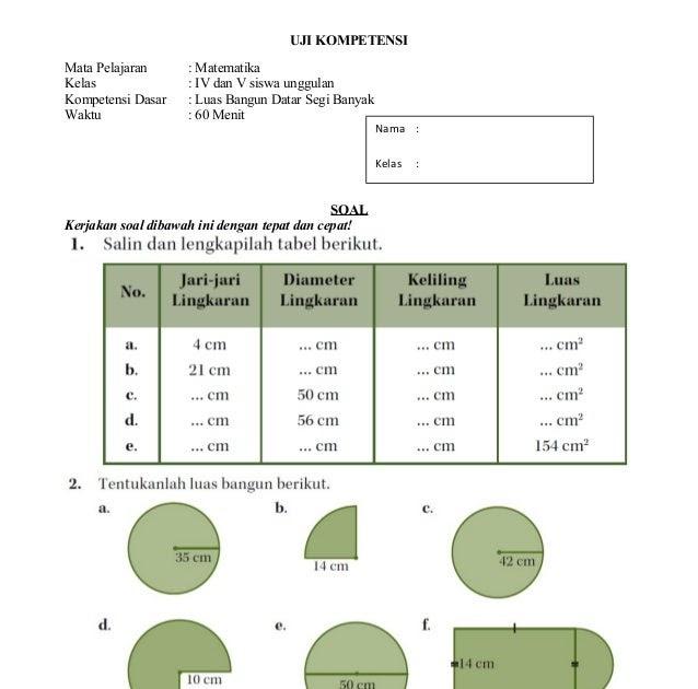 Soal Matematika Kelas 4 Bangun Datar Pdf