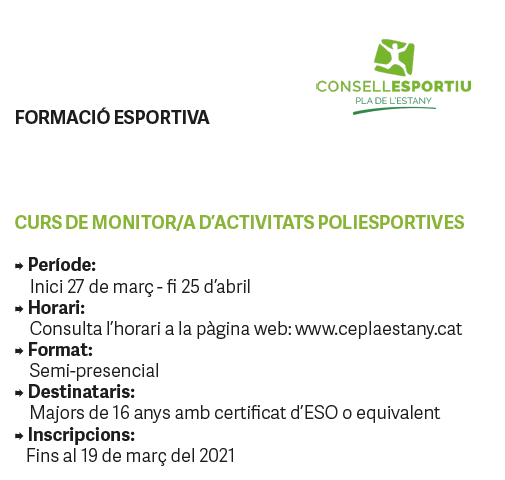 INFORMACIÓ PER A ENTITATS