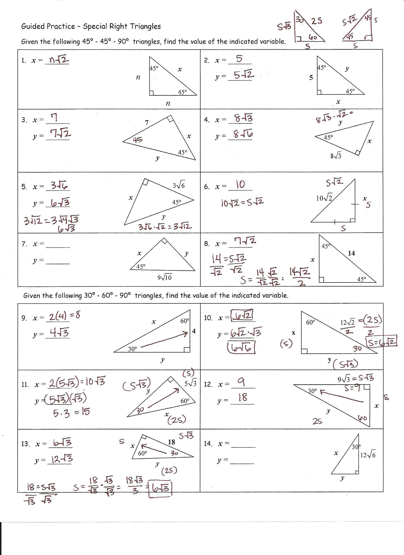 Practice Worksheet Special Right Triangles Answers