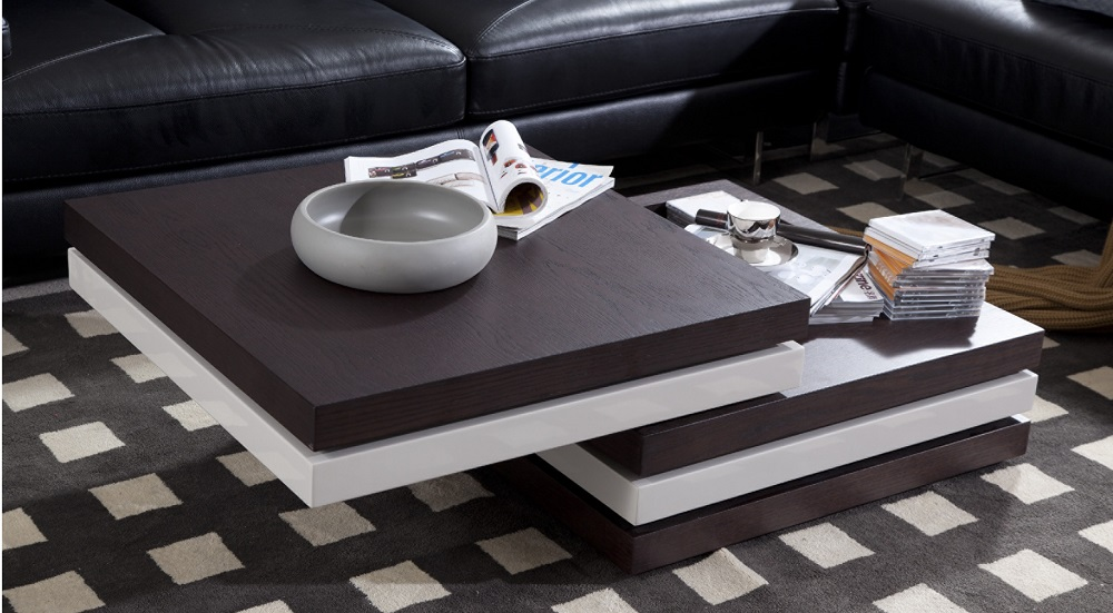 2 tone coffee table with swivel top