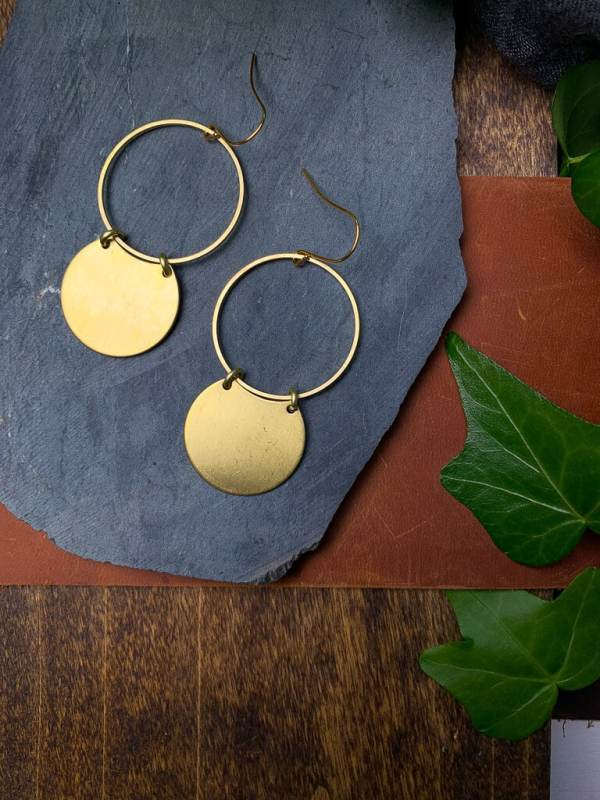 brass earrings with gold plated hooks