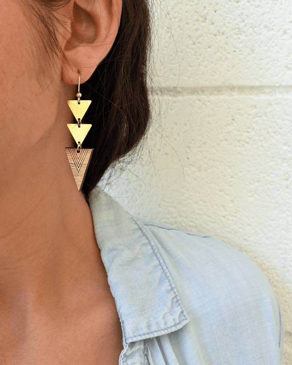 brass and bamboo triangle earrings