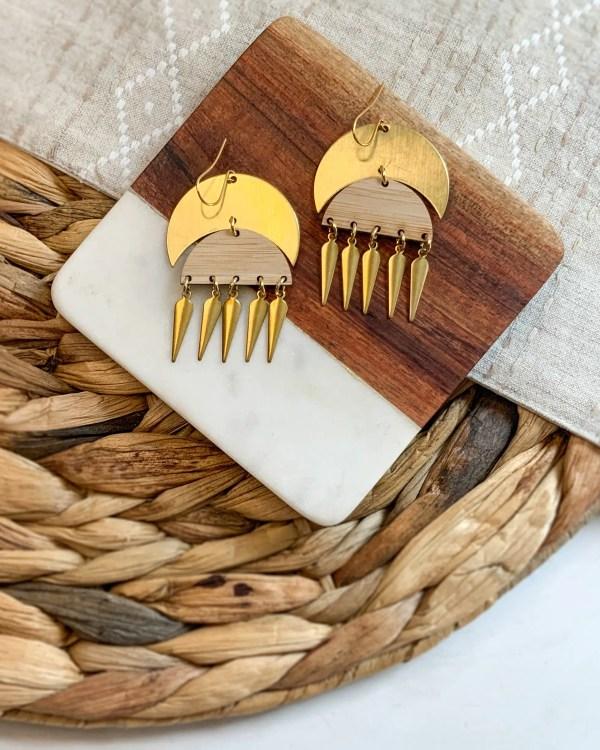 Brass and bamboo fringe earrings