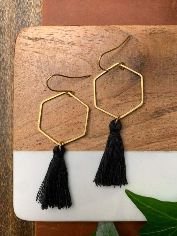brass black tassel earrings with gold plated hooks