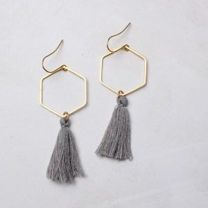 hexagon tassel earrings