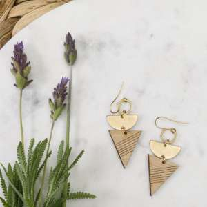 brass and bamboo earrings with lavender