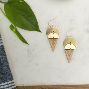 brass and bamboo triangle and moon earrings