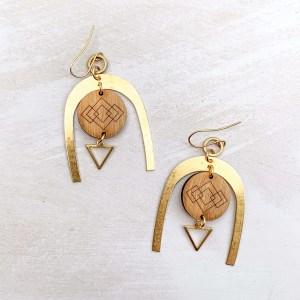 brass and bamboo wishbone earrings