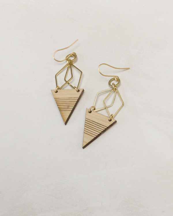 brass and bamboo hexagon triangle earrings with stripe
