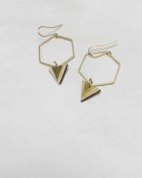 brass and bamboo hexagon hoop earrings with triangles