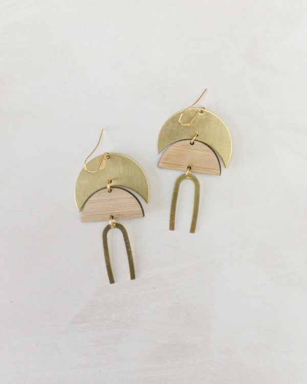 brass and bamboo earrings with wishbone