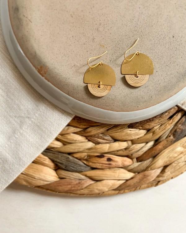 Brass and bamboo half circle earrings