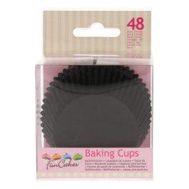 Caissettes à cupcakes Noir – 48 pcs – Fun Cakes