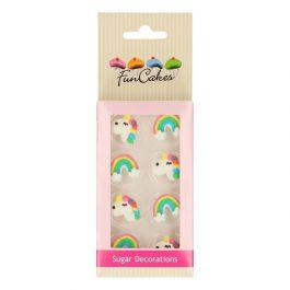 Décorations en sucre licorne et arc-en-ciel x8 – Fun Cakes