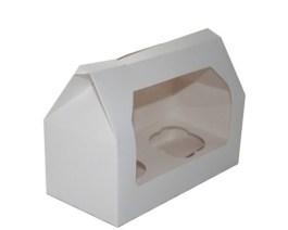 Boîte carton blanche à fenêtre pour cupcakes