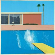A painting by David Hockney that captures the moment just have someone has jumped off a diving board and entered the water, so that the view is of a big splash in the swimming pool.