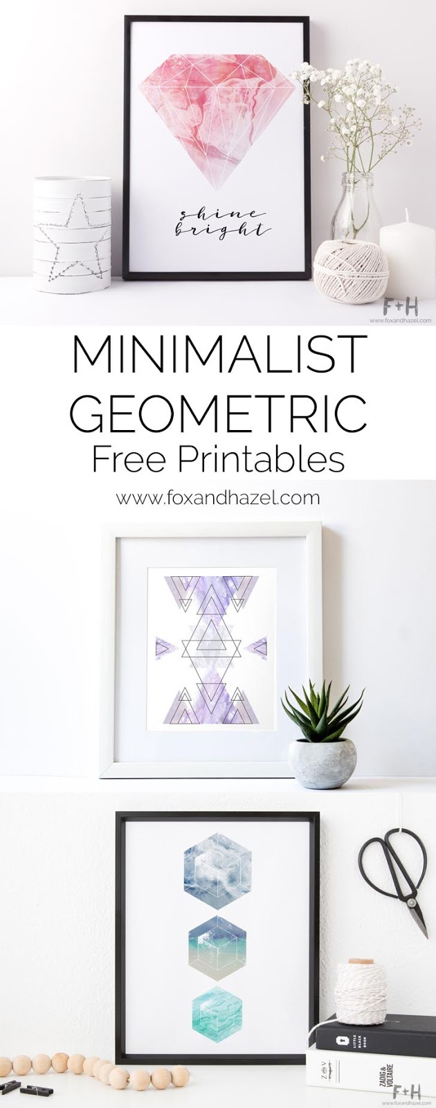 A Pinterest cover highlighting 3 minimalist geometric designs for wall decor