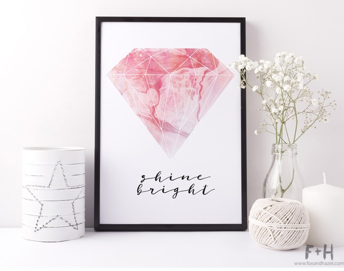 Framed art print featuring a large pink diamond with the words Shine Bright written in script underneath