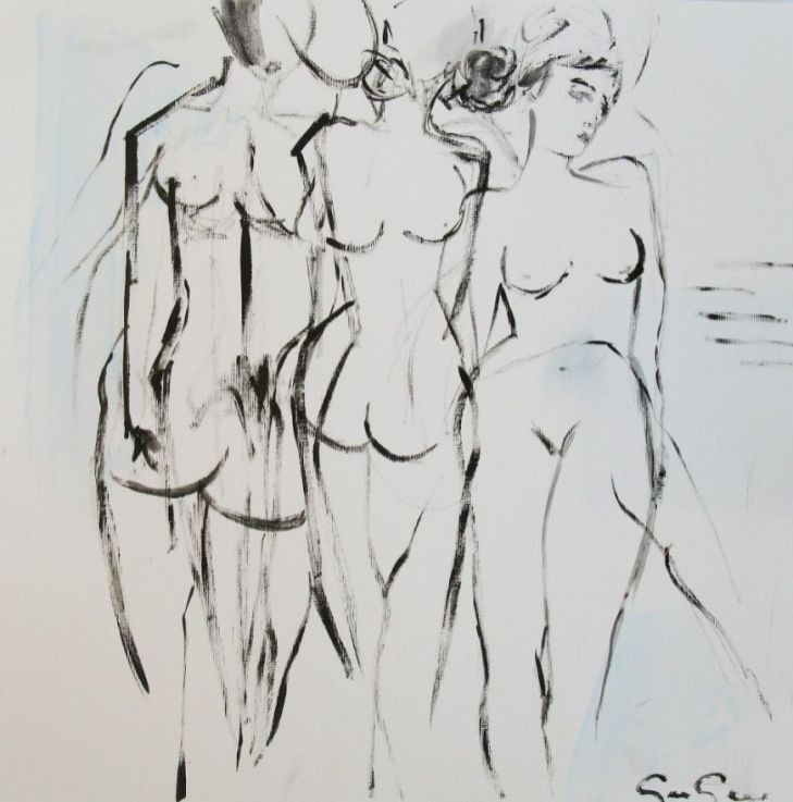 Black And White Painting of Nude Women