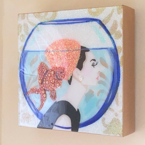 Glitter Art Canvas of Woman in Fish Bowl with Glitter Hat & Jeweled Fish