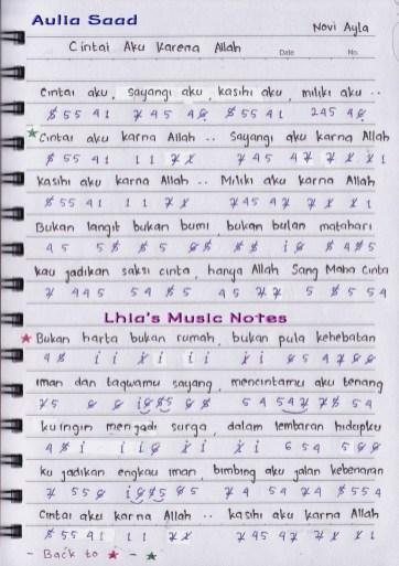 Lirik Lagu Cintai Aku Karena Allah : lirik, cintai, karena, allah, Cintai, Karena, Allah, Lhia's, Music, Notes